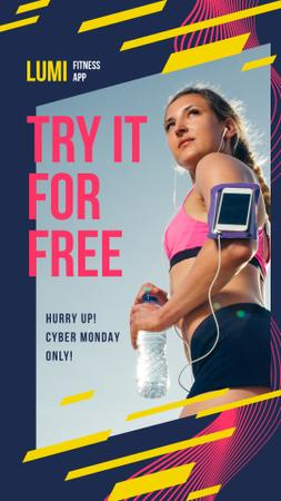 Plantilla de diseño de Cyber Monday Offer Woman Running with Smartphone Instagram Story