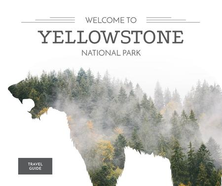 Ontwerpsjabloon van Facebook van Yellowstone National Park with Bear silhouette