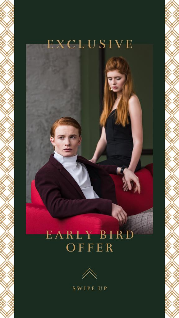 Fashion Ad Couple in Elegant Clothes — Créer un visuel