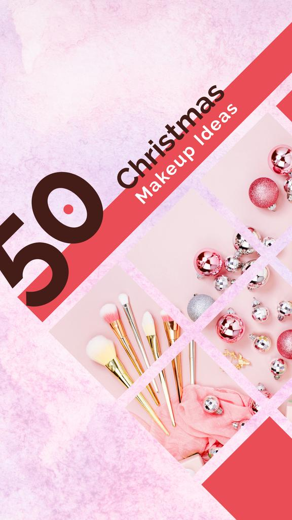 Christmas Makeup brushes set with baubles — Создать дизайн