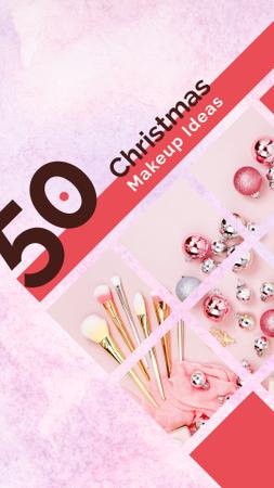 Christmas Makeup brushes set with baubles Instagram Story Modelo de Design