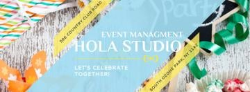 Event Management Studio Ad Bows and Ribbons | Facebook Cover Template