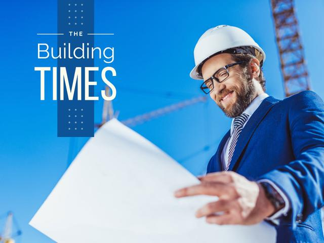 Building Industry News with Architect Holding Blueprint Presentation Design Template