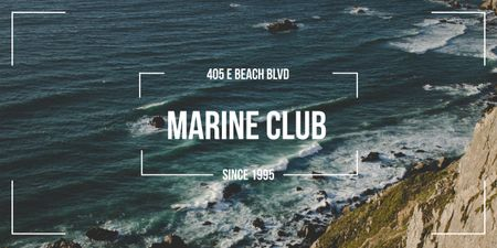 Marine Club ad with Scenic Coast Image Modelo de Design