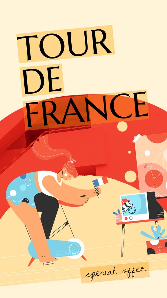 Tour De France Offer Girl on Bicycle — Modelo de projeto