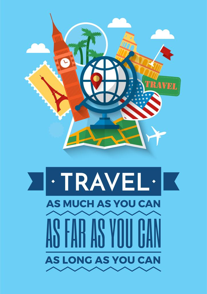 Travel Motivational Poster With Slogan Poster Template Design