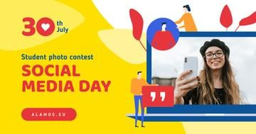 Social Media Day Contest Girl Taking Photo on Phone | Facebook Ad Template