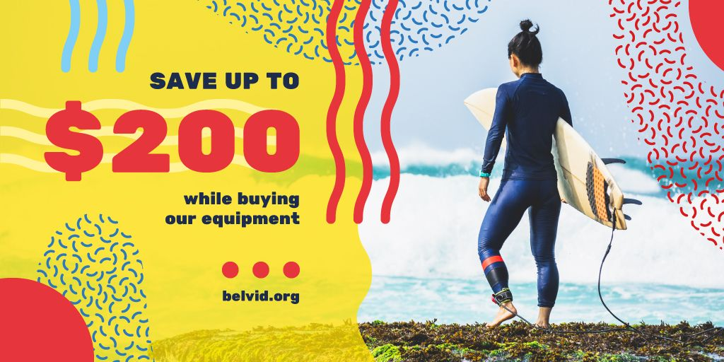Surfing Equipment Offer Man at the Beach with Board | Twitter Post Template — Créer un visuel