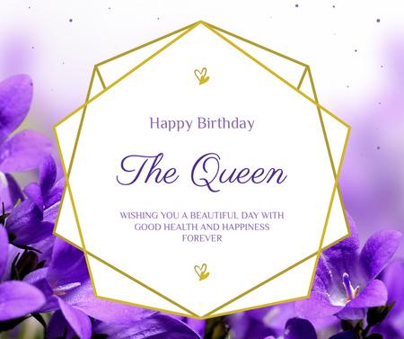 Modèle de visuel Queen's Birthday Greeting with purple flowers - Facebook