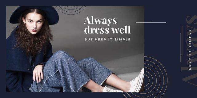 Template di design Young attractive woman in stylish clothes Image