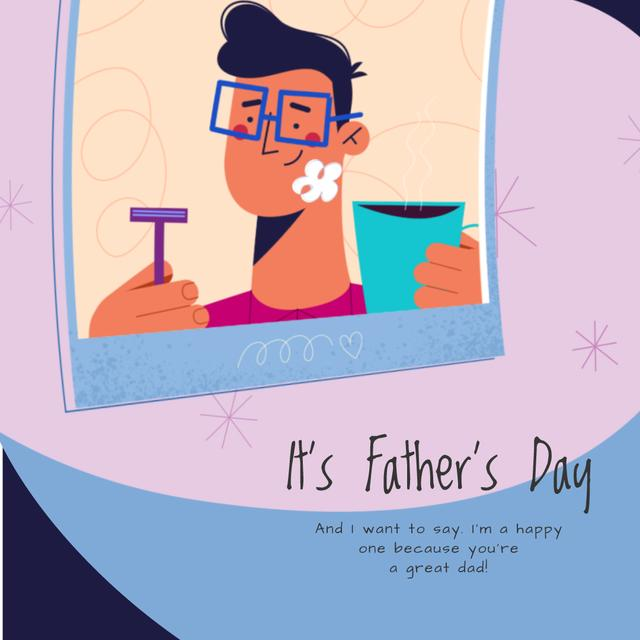 Template di design Dad with Kid shaving on Father's Day  Animated Post