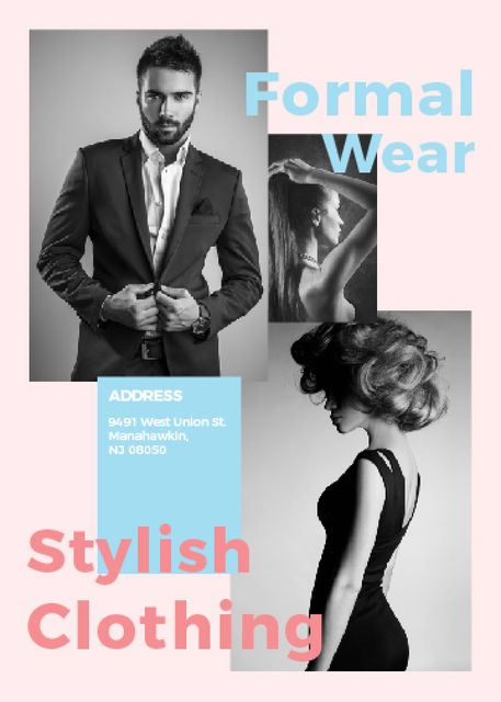 Ontwerpsjabloon van Invitation van Fashion Ad Woman and Man with modern hairstyles