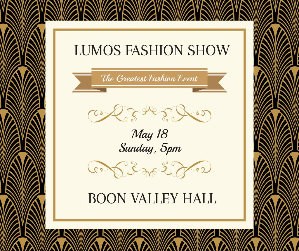 Fashion Show invitation Golden Art Deco pattern — Створити дизайн