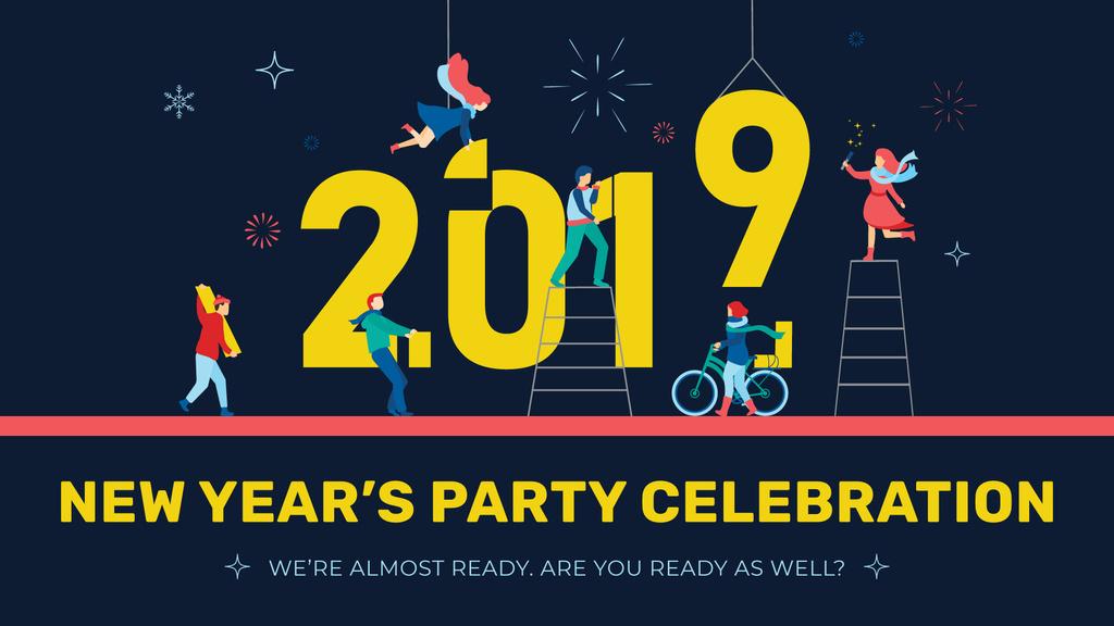 People decorating 2019 numbers — Crea un design