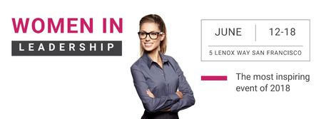 Ontwerpsjabloon van Facebook cover van Business Event Announcement with Smiling Businesswoman