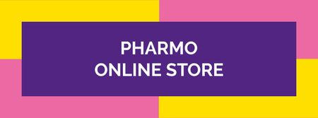 Drug Store Ad on colorful pattern Facebook cover Modelo de Design