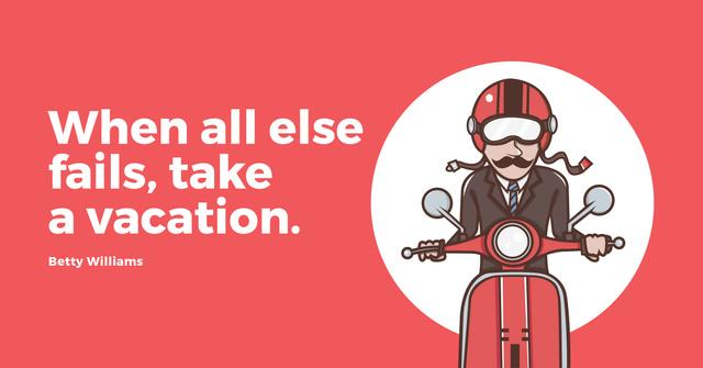 Man going on bike to vacation Facebook AD Modelo de Design