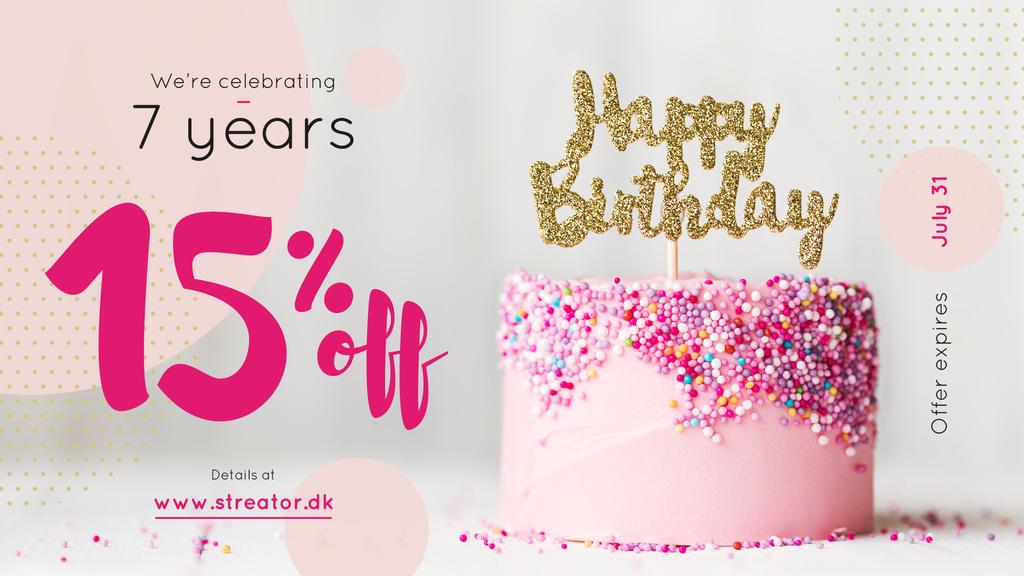 Birthday Offer Pink Sweet Cake — Maak een ontwerp