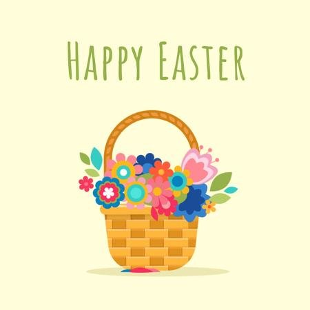 Modèle de visuel Blooming flowers in basket on Easter - Animated Post