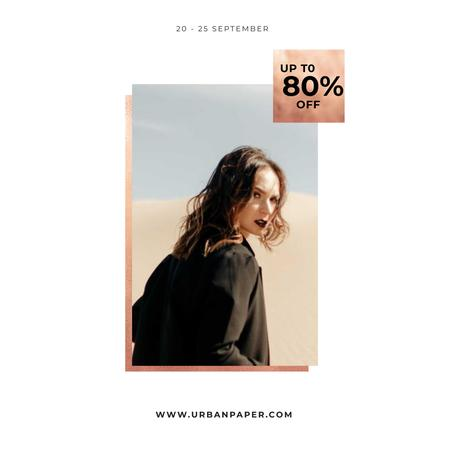 Plantilla de diseño de Special Fashion Sale with Woman in black coat Instagram