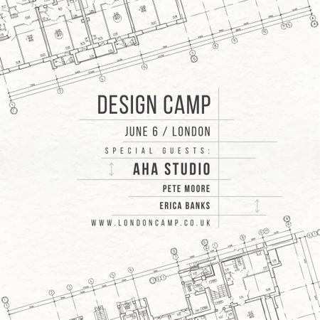 Design camp Ad with Blueprints Instagram Modelo de Design