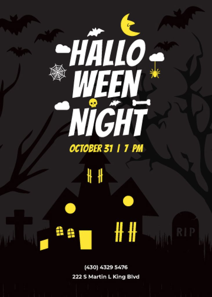 Halloween Party invitation with scary house — Maak een ontwerp