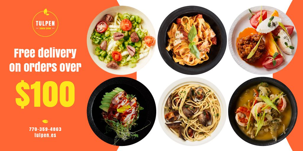 Meal Delivery Menu Offer Twitterデザインテンプレート