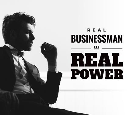 Plantilla de diseño de Businessman Wearing Suit in Black and White Facebook