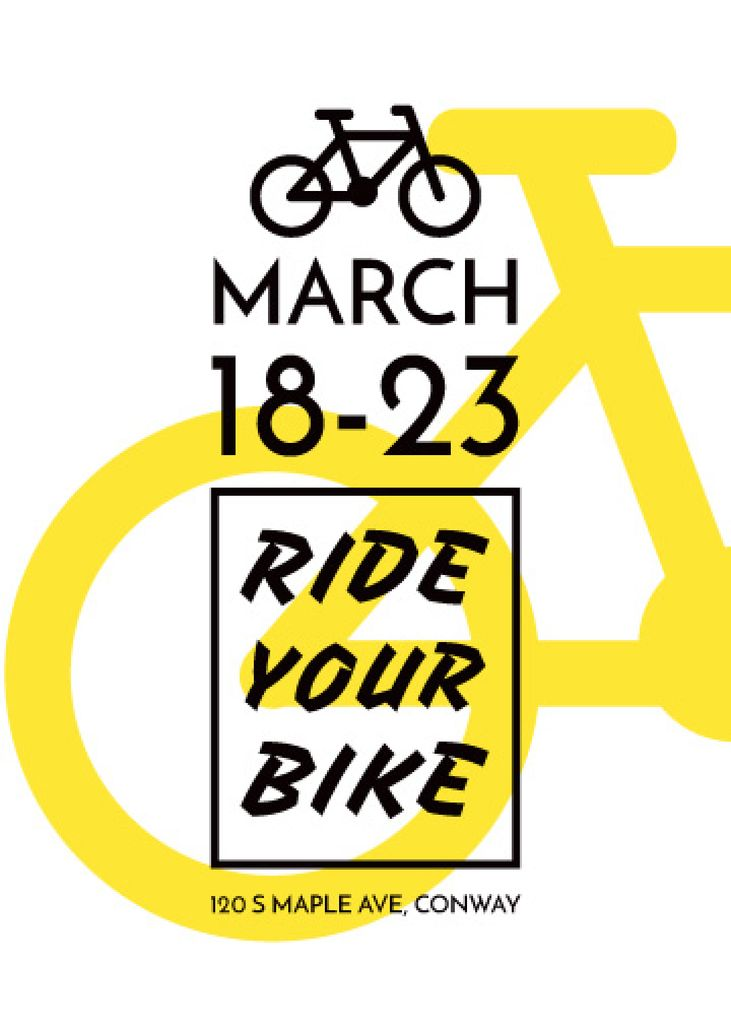 Cycling Event announcement simple Bicycle Icon — Crear un diseño
