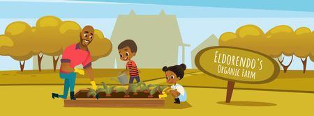 Kids and father working in garden Facebook Video cover Modelo de Design
