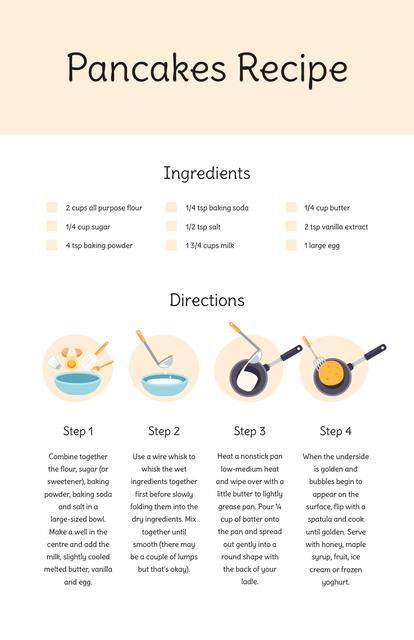 Pancakes Cooking Process Recipe Cardデザインテンプレート