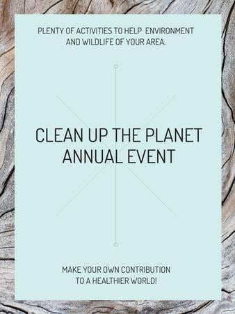 Ecological event announcement on wooden background Poster USデザインテンプレート