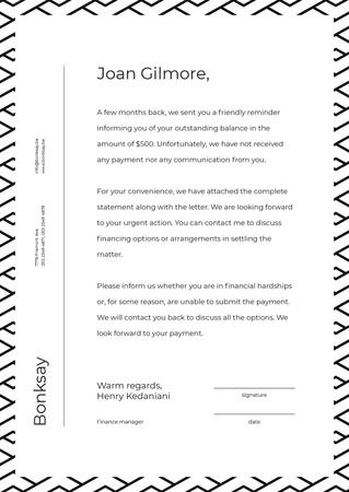 Plantilla de diseño de Payment official notification Letterhead