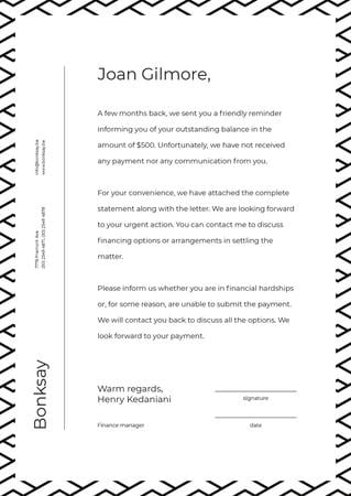 Payment official notification Letterheadデザインテンプレート