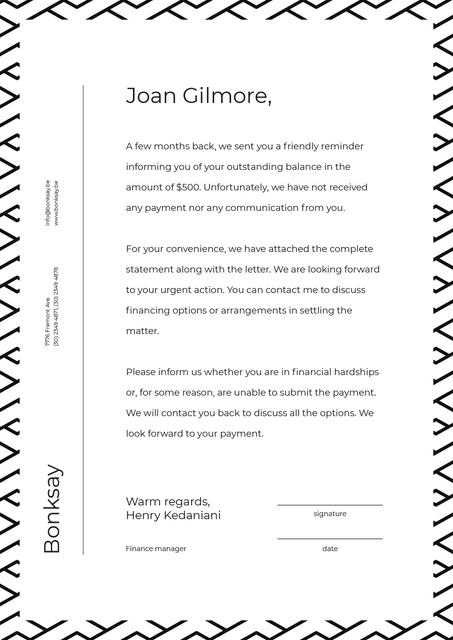 Plantilla de diseño de Payment official notification Letterhead