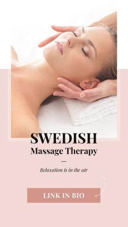Woman at Swedish Massage Therapy Instagram Story Modelo de Design