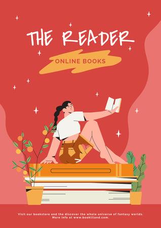Girl Reading Books Online Poster Modelo de Design