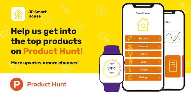 Product Hunt Launch Ad with Smart Home App on Screen Twitter – шаблон для дизайну