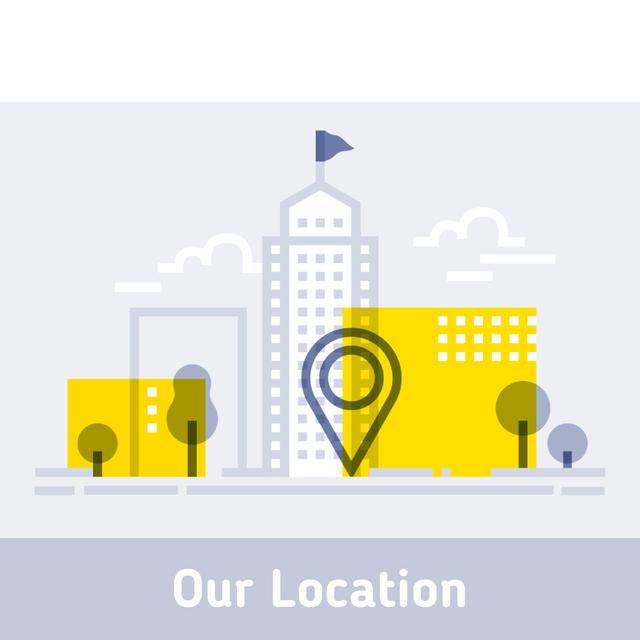 City navigation icon with Map Mark Animated Post Modelo de Design