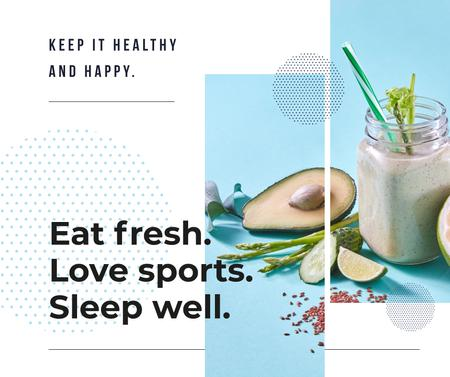 Healthy Lifestyle Concept Green Smoothie Facebook Modelo de Design