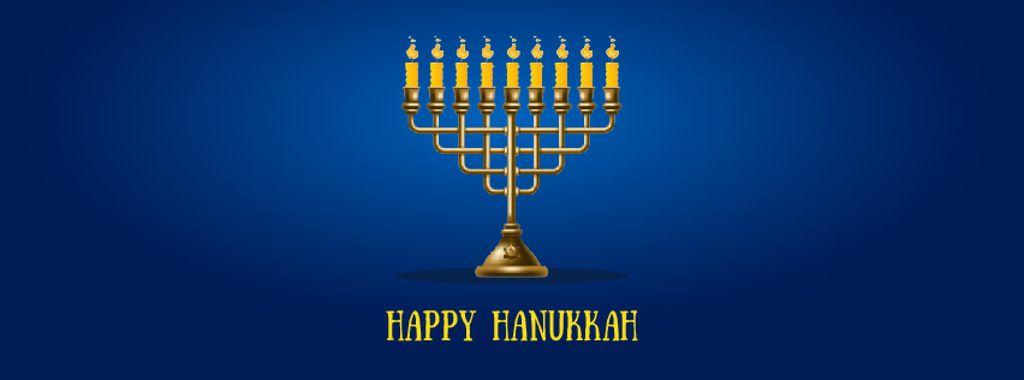 Happy Hanukkah Greeting with Menorah | Facebook Video Cover Template — Создать дизайн