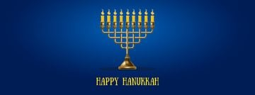 Happy Hanukkah Greeting with Menorah Facebook Video Cover