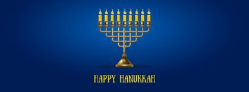 Happy Hanukkah Greeting with Menorah | Facebook Video Cover Template