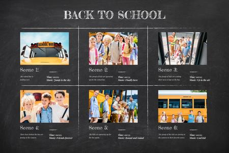 Template di design Students by yellow School Bus Storyboard