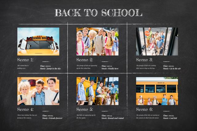 Students by yellow School Bus Storyboard Design Template