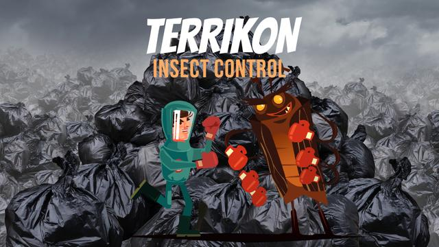 Ontwerpsjabloon van Full HD video van Insect Control Exterminator Fighting with Cockroach