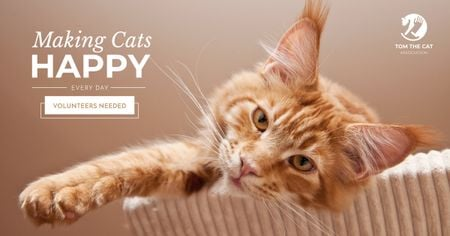 Volunteers for cats Ad with Cute Cat Facebook AD Tasarım Şablonu