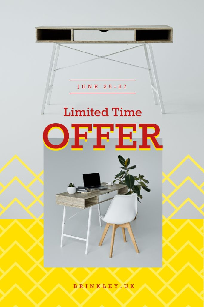 Furniture Offer Cozy Workplace with Laptop | Tumblr Graphics Template — Crea un design
