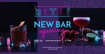 Bar Opening Announcement Cocktails on a Counter | Facebook Ad Template