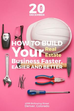 Building Business with Construction Tools on Pink Pinterest Modelo de Design